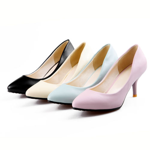 New-Fashion-Women-s-Comfort-Mid-Heels-Pumps-Party-Pointed-Toe-Shoes-CHH175